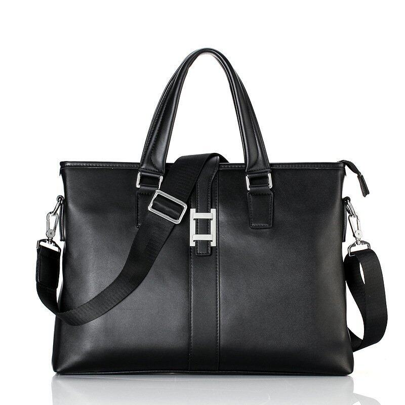Cowhide Leather Handbag Business Men Computer Messenger Bag Cusual Tote Brand Design Briefcase (Black) - Intl
