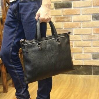 Cowhide Leather Tote Bag Men Male Hand Embossed Handbag Bag Fashion Business Casual Bag (Black) - intl
