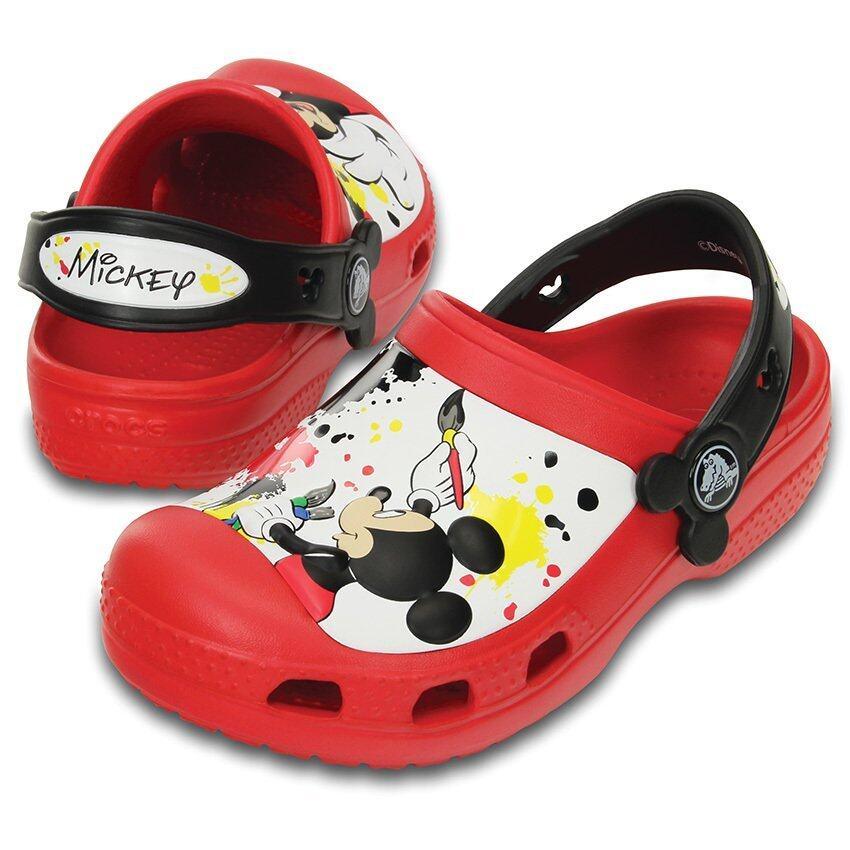 ด่วน CROCS-CC Mickey Paint Splatter Clog-Red-C10/11(US) กำลังลดราคา