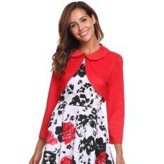 Cyber Big Discount Women Vintage Style Doll Collar Long Sleeve Solid Open Front Bolero Shrug Top( Red ) - Intl ราคา 400 บาท(-32%)