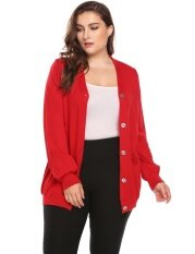Cyber Low Profit Women Casual Long Sleeve Button V-Neck Solid Basic Soft Cardigan( Red ) - Intl ราคา 556 บาท(-61%)