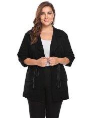Cyber Low Profit Women Lapel Roll Up Sleeve Solid Drawstring Waist Casual Coat Plus Size (black) - Intl ราคา 680 บาท(-63%)