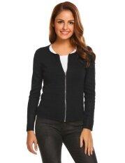 Cyber Promotion Women O-Neck Long Sleeve Full Zip Slim Fit Casual Sweater Cardigan( Black ) - Intl ราคา 556 บาท(-68%)