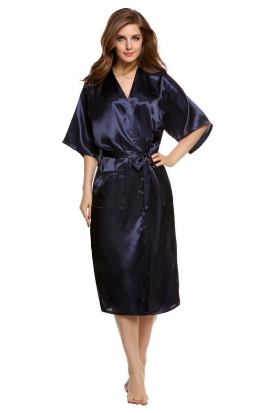 Cyber Sexy Woman Silk Strappy Sleepwear Long Bath Robes Night Gown Pajamas ( Blue )