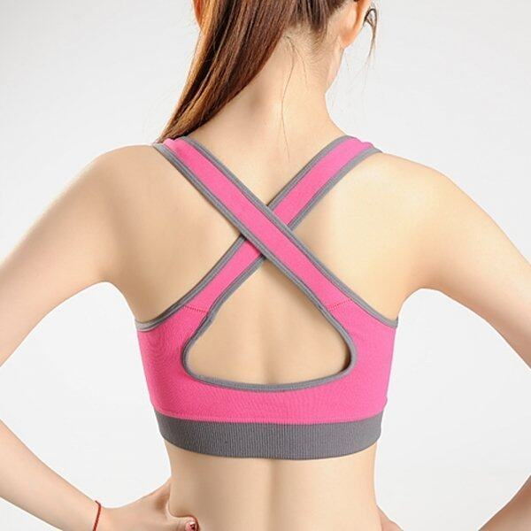Double-layer Cross-over Sports Bra with Chest Pads for Yoga (Rose Red) - intl