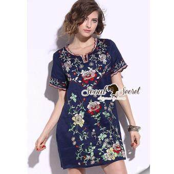 Elisa Thailand เสื้อผ้าแฟชั่นสไตล์เกาหลีSeoul Secret Say's... Curly Collar Stick Blossom Dress