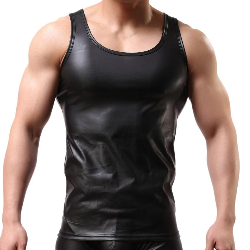 EOZY ซัมเมอร์แฟชั่นเสื้อแขนกุดเสื้อกล้ามชั้นในผู้ชายเสื้อยืดไนลอนรัดรูปเสื้อกล้ามเสื้อเนื้อบาง (สีดำ)