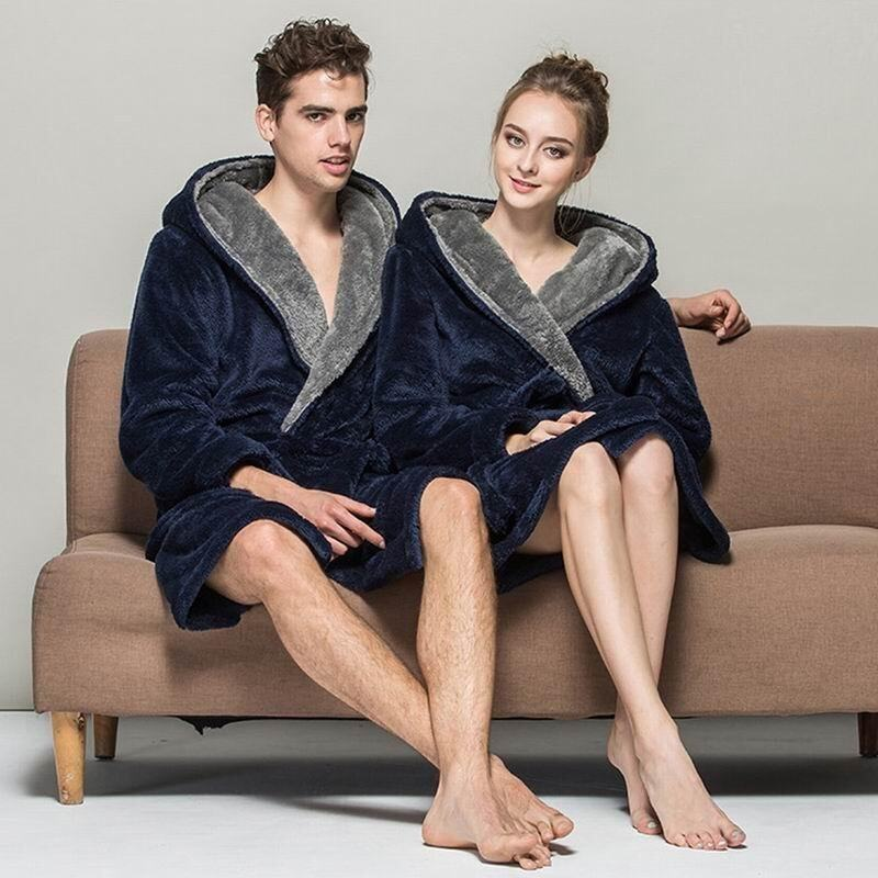 EOZY Trendy Men Women Fleece Robe Thick Hooded Bathrobe Front Belted Sleepwear Korean Style Unisex Long Sleeve Long Plush Hooded Couples Bathrobe (Navy Blue) - intl