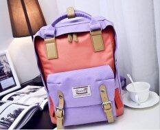 Fashion Backpack กระเป๋าเแฟชั่น ทูโทนม่วงชมพู