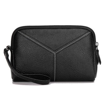 Fashion Women PU Leather Multifunction Mini Phone Bag Card Coin Clutch Bag(Black)-one size - intl