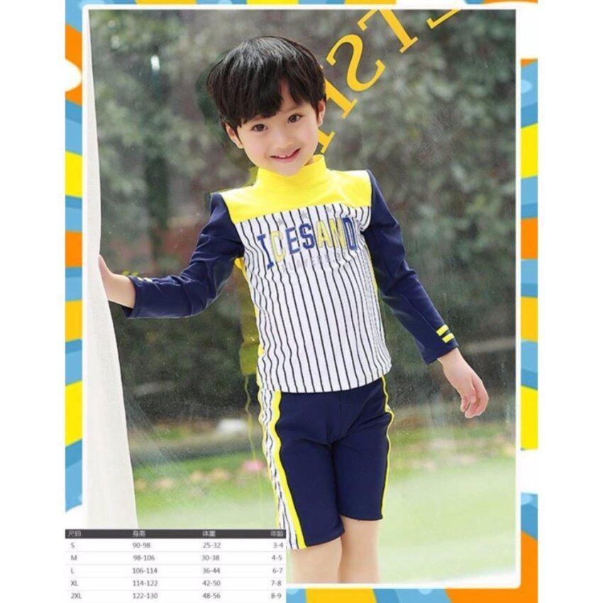 Friendly4kid ชุดว่ายน้ำเซ็ตเสื้อแขนยาวลายทางสีเหลือง-กรม+กางเกงสามส่วน พร้อมหมวก ...