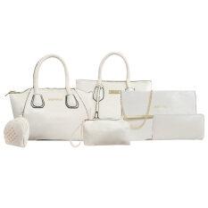 FTshop เซ็ต 6 ใบ กระเป๋าถือ กระเป๋าสะพาย กระเป๋าสตางค์ กระเป๋าสะพายข้าง กระเป๋าแฟชั่น ( สีขาว )bag00058-white