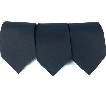 GOODS24 SILK TIES เนคไท ผ้าไหม100% (สีพื้นสีดำ ) 3 เส้น
