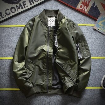 Grandwish Men Bomber jacket with pocket Moto jacket youth coat SlimM-4XL (Army green) - intl