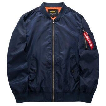 Grandwish Men Pilot Bomber Jacket Pure Color Coat Plus size S-6XL(Dark blue) - intl