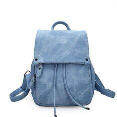 HFSHOP กระเป๋าเป้หนังสะพายหลังแฟชั่น รุ่น JL สีฟ้า
