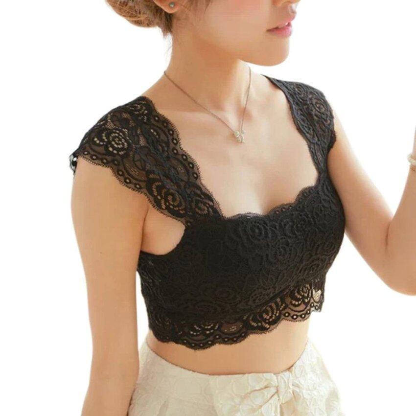 HOT New Women Sexy Lace Bra Bustier Crop Top Vest Halter Tank Tops - intl ...