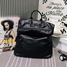 HPB กระเป๋าเป้ผู้หญิง หนัง PU สะพายหลัง สีดำ