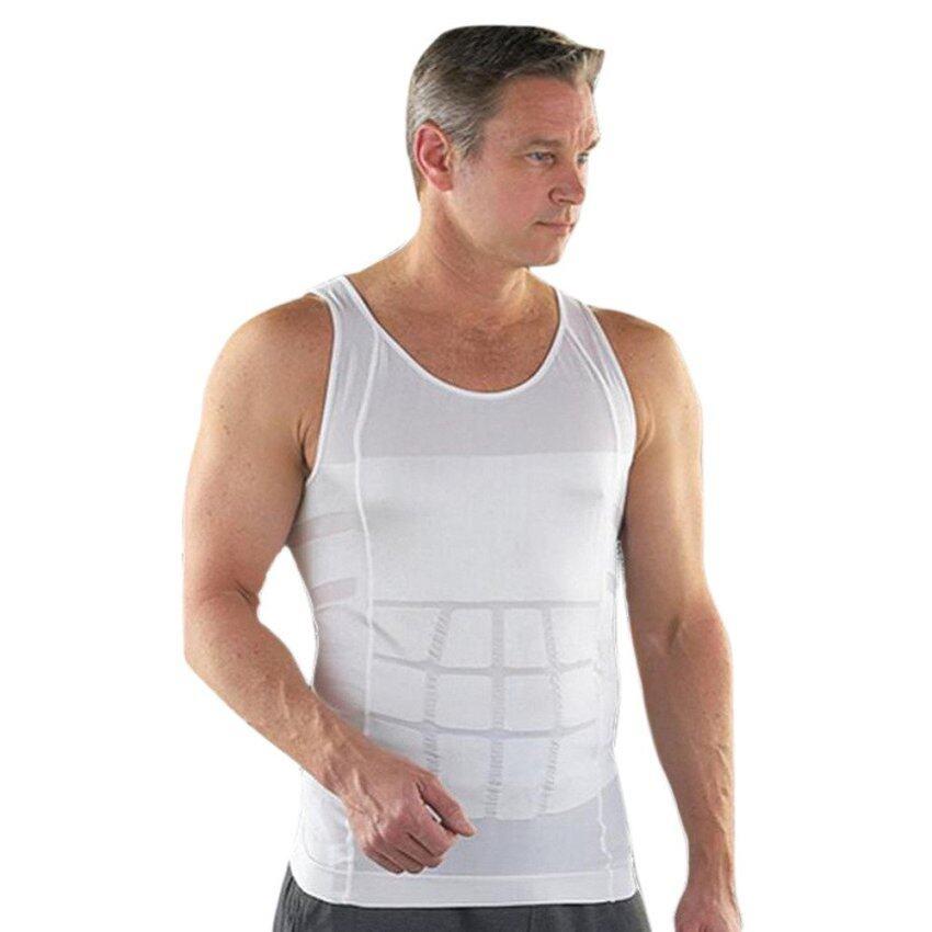 ideecraft เสื้อยืดเก็บพุง กระชับหุ่น เสื้อกล้าม สำหรับผู้ชาย พยุงท้อง เก็บพุง หุ่นดูดี men body slimming shaper shirt สีขาว