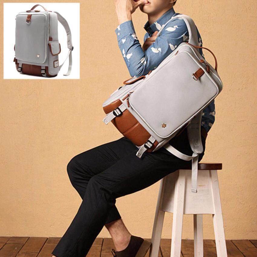Inthebox-shop กระเป๋าเป้สะพายหลังใช้ได้ทั้งชาย-หญิง กระเป๋าเป้ผ้าแคนวาสแต่งหนัง PU (สีครีม)