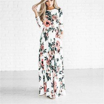 Jiayiqi European Style Multicolor Printing Long Sleeved Dress ForSummer - intl