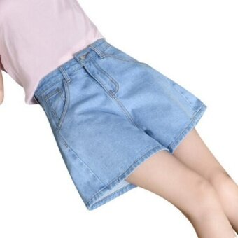 JOY Korea korean fashion Loose waisted Wide Leg Denim Shorts Blue -intl