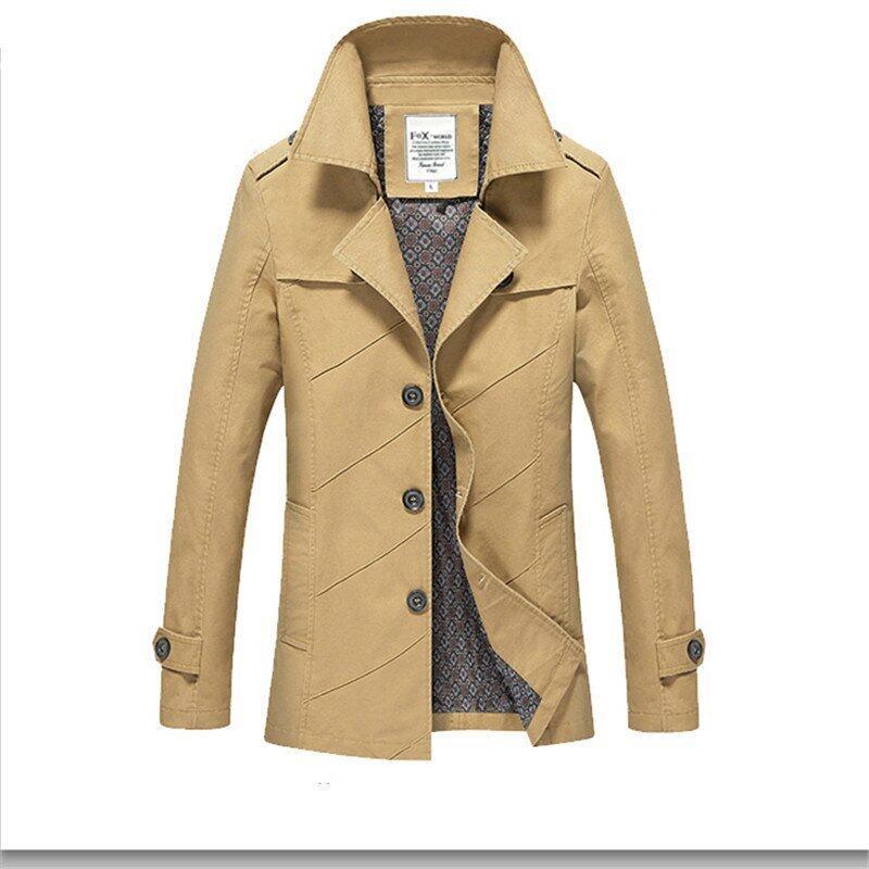 ราคาพิเศษ Khaki Fashion New British Slim Single Breasted Mens Trench CoatEurope Trench Coat Jacket Male Coat Solid Windbreaks Size M-4XL สำหรับคุณ