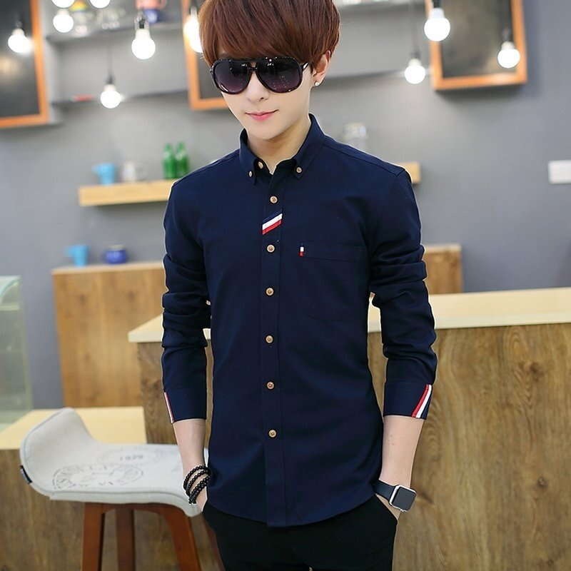 Korea Type Men Teenagers Long Sleeve Leisure Fashion Shirt Youth Male Students Casual .