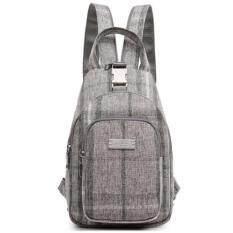 กระเป๋าเป้สะพายหลัง BB สีเทาขาว