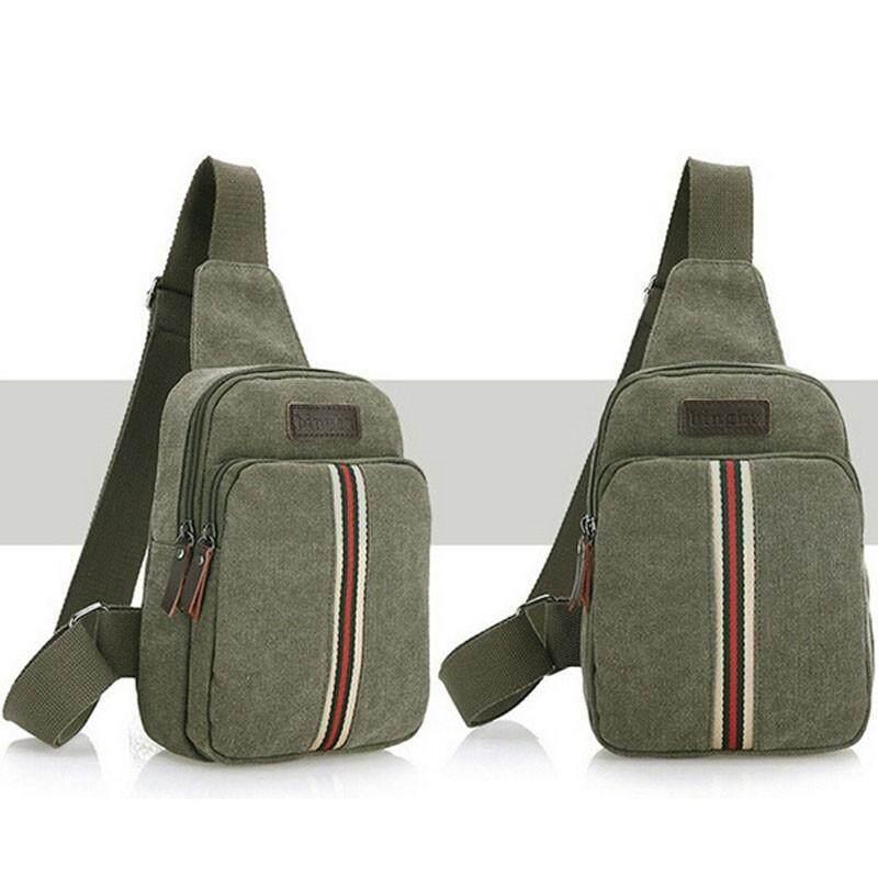 LALANG Men Canvas Shoulder Bag Satchel Casual Sports Outdoor Chest Pack Crossbody Bag (Green)
