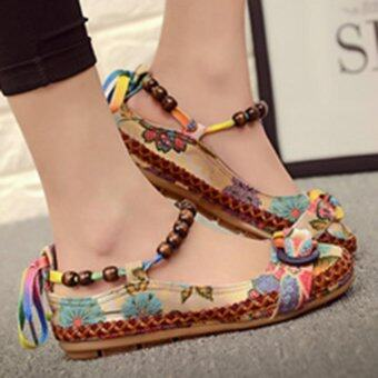 LALANG Women Beading Round Toe Embroidered Shoes Lace Up Increased Flats Shoes