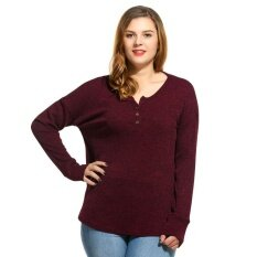 Linemart Stylish Women Plus Sizes Casual Henley Neck Long Sleeve Solid Ribbed Knit Pullover Sweater ( Red ) - Intl ราคา 573 บาท(-67%)