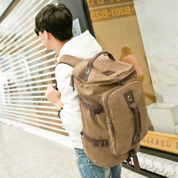 LIYONGYI Canvas กระเป๋าเป้ แคนวาส Retro Casual & Sport ไซส์ XL (สีน้ำเงิน)