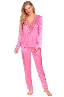 Low Profit Sunweb Women Deep V Neck Long Sleeve Lace Patchwork Blouse Long Pants Pajamas Set(Pink) - intl
