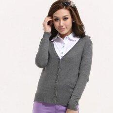 M-Y Womens Sweater Cardigan-Grey - Intl ราคา 536 บาท(-67%)
