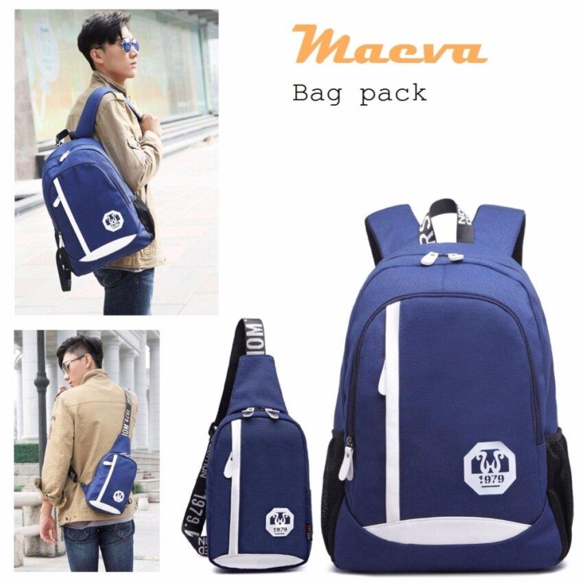 MAEVA Set Backpack & Shoulder Bag กระเป๋าโน๊ตบุ๊ค กระเป๋าเป้สะพายหลัง กระเป๋าเป้เดินทาง+กระเป๋าสะพายพาดลำตัวกระเป๋าคาดอก MV-039(สีน้ำเงิน)