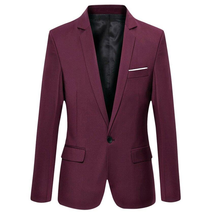 Male Turn Down Collar Cotton Blend Slim Fit Suit (Claret) - intl ...