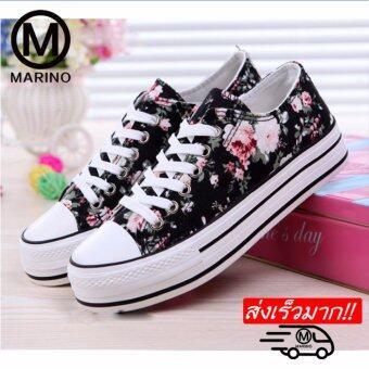 Marino รองเท้าผ้าใบผู้หญิง ลอยดอกไม้ รุ่น A006 - (สีดำ)