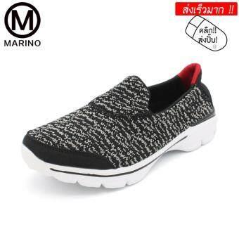 Marino รองเท้าผ้าใบสีดำสำหรับผู้หญิง รองเท้าพื้นเมมโมรี่โฟม No.A031 - BlackGray