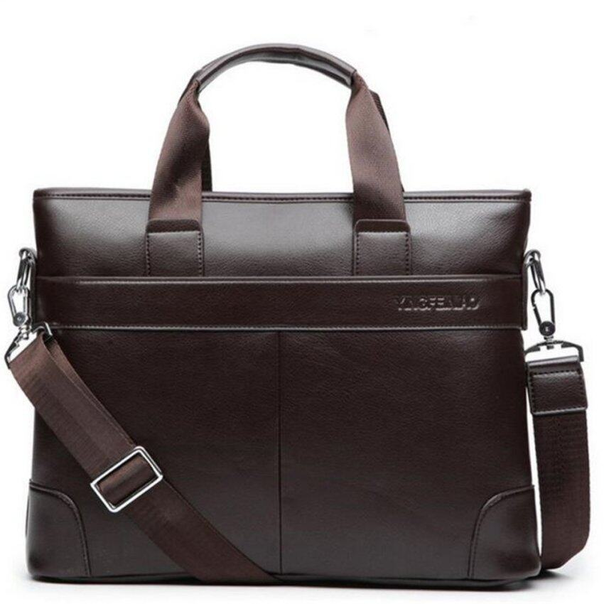 Men Briefcase Leather Bag Business Shoulder Crossbody Messenger Laptop Handbag Brown - intl. >>>>