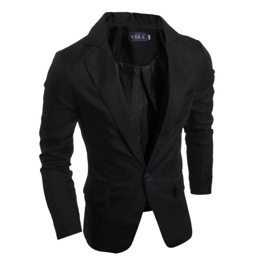 Men Cotton Blends a Buckle Slim Small suit Fashion Business Casual Coat - intl ...