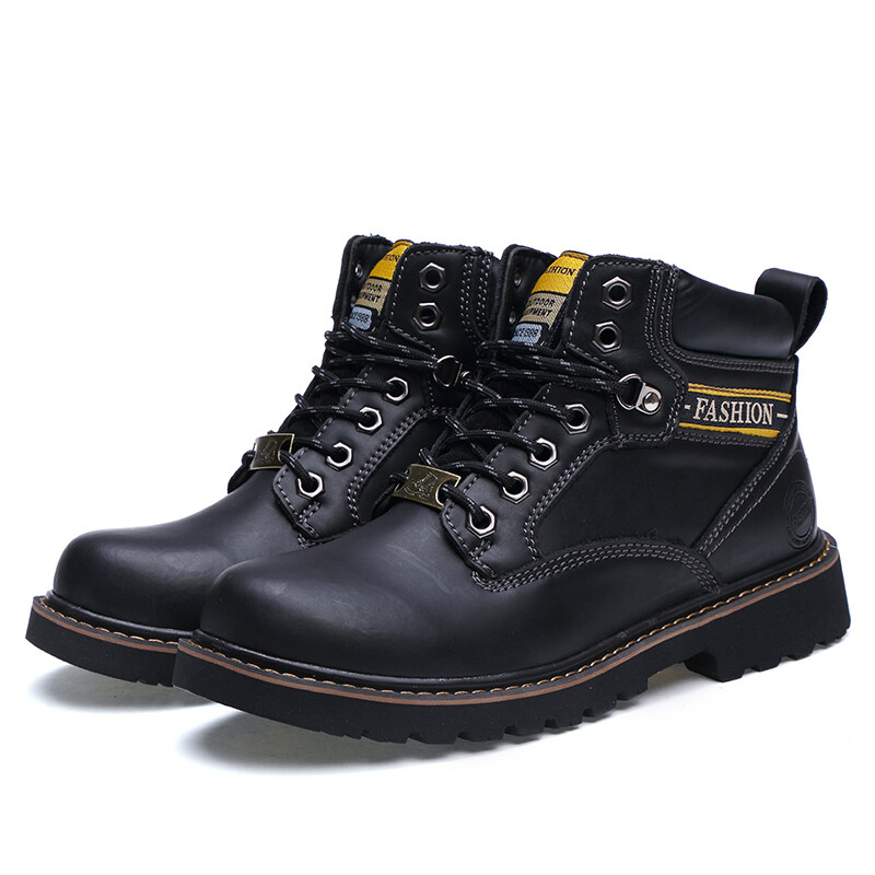 Men fashion boots Tooling shoes to help high-scrub leather snow boots - intl ...