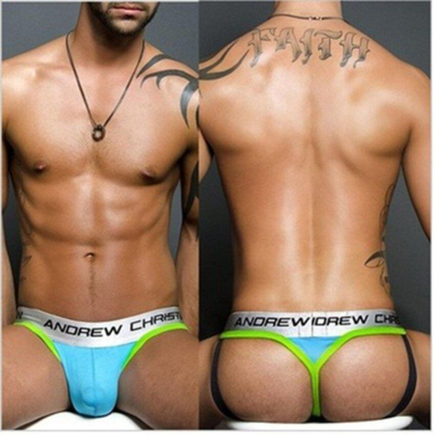 Men Underwear Sexy Jockstrap Thongs High Quality Cotton String Homme Men Thong Tanga Hombre(Blue) - intl