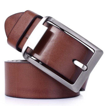 Men's Genuine Leather Vintage Classic Pin Buckle WaistBand StrapBelts (Brown)