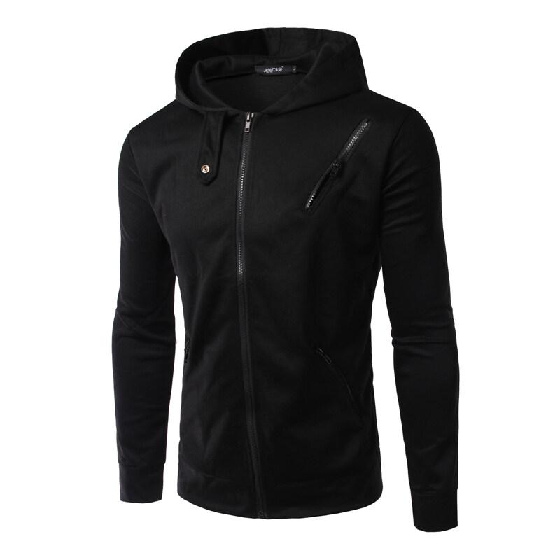 ราคาพิเศษ Men's Sweatshirts Hooded Zip Jacket Black สำหรับคุณ
