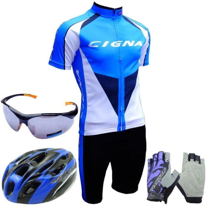 Morning ชุดปั่นจักรยานผู้ชาย Cigna (สีฟ้า)+หมวกจักรยาน+แว่นตา ถุงมือฟรีไซด์ (สีม่วง)