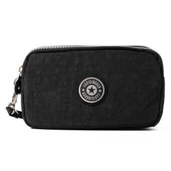 กระเป๋าสตางค์ยาวซิปไนล่อนหญิงเหรียญทองถือกระเป๋าถือกระเป๋าถือบัตรเครดิตโทรศัพท์+สายรัดข้อมือ (สีดำ) MT306-SZ