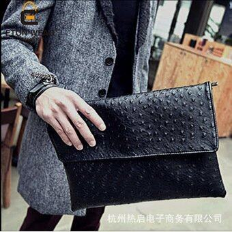 New 2017 Fashion Handbag Ostrich Grain Hand Caught Clutch Package Single Shoulder Bag Male Messenger Bag (Black) - intl(...)