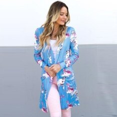New Women Outerwear Open Front Floral Print Long Sleeves Pockets Elegant Loose Cardigan - Intl ราคา 345 บาท(-18%)