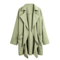 New Women Trench Coat Solid Lapel Pocket Rolled Sleeve Casual Cardigan Loose Outerwear - Intl ราคา 408 บาท(-21%)